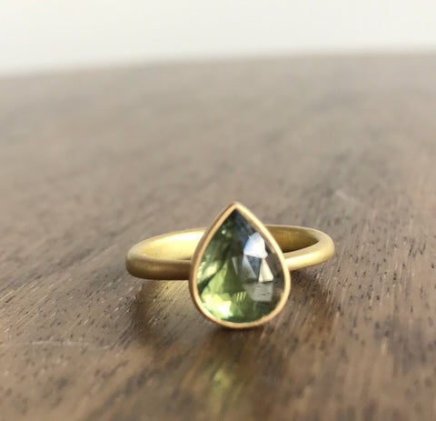 Lola Brooks Green Sapphire Teardrop Ring