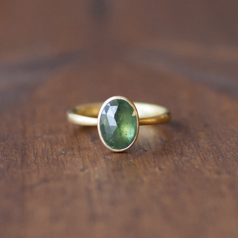 Lola Brooks Natural Green Oval Sapphire Ring
