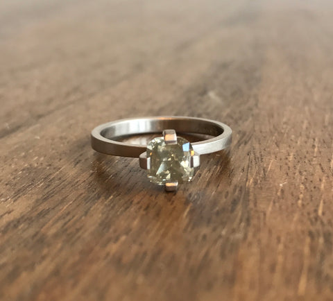 Lola Brooks Cushion Cut Khaki Diamond Ring