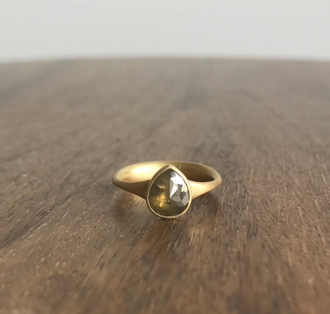 Lola Brooks Olive Tear Drop Diamond Ring