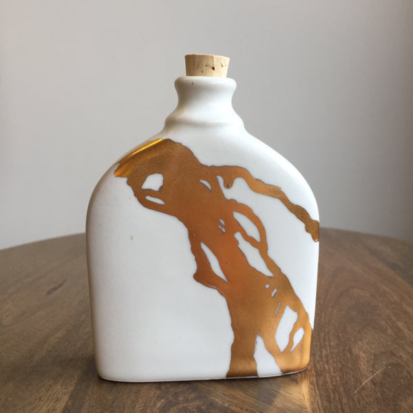 Quiet Clay Dripping Gold Flask