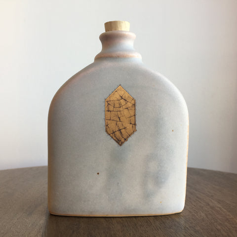 Quiet Clay Split Geometric Crackle Flask