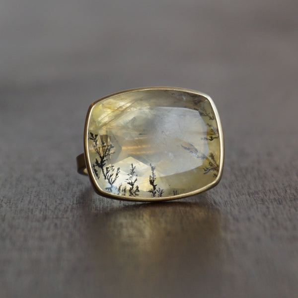 Monika Krol 18k Gold & Dendrite Quartz Ring