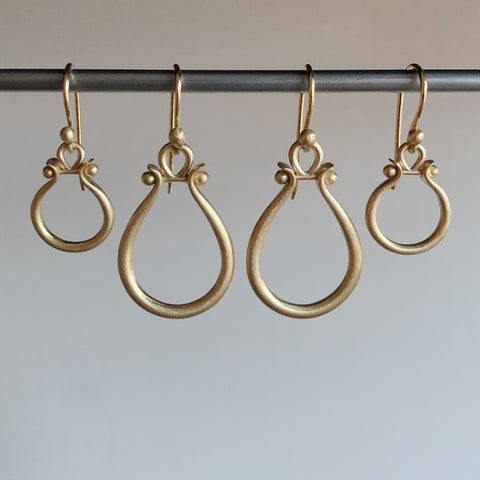 Monika Krol Gold Lyre Earrings