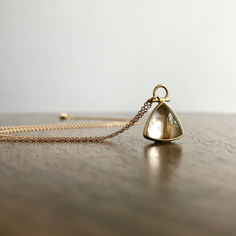Monika Krol Petite Rutilated Quartz Triangle Pendant