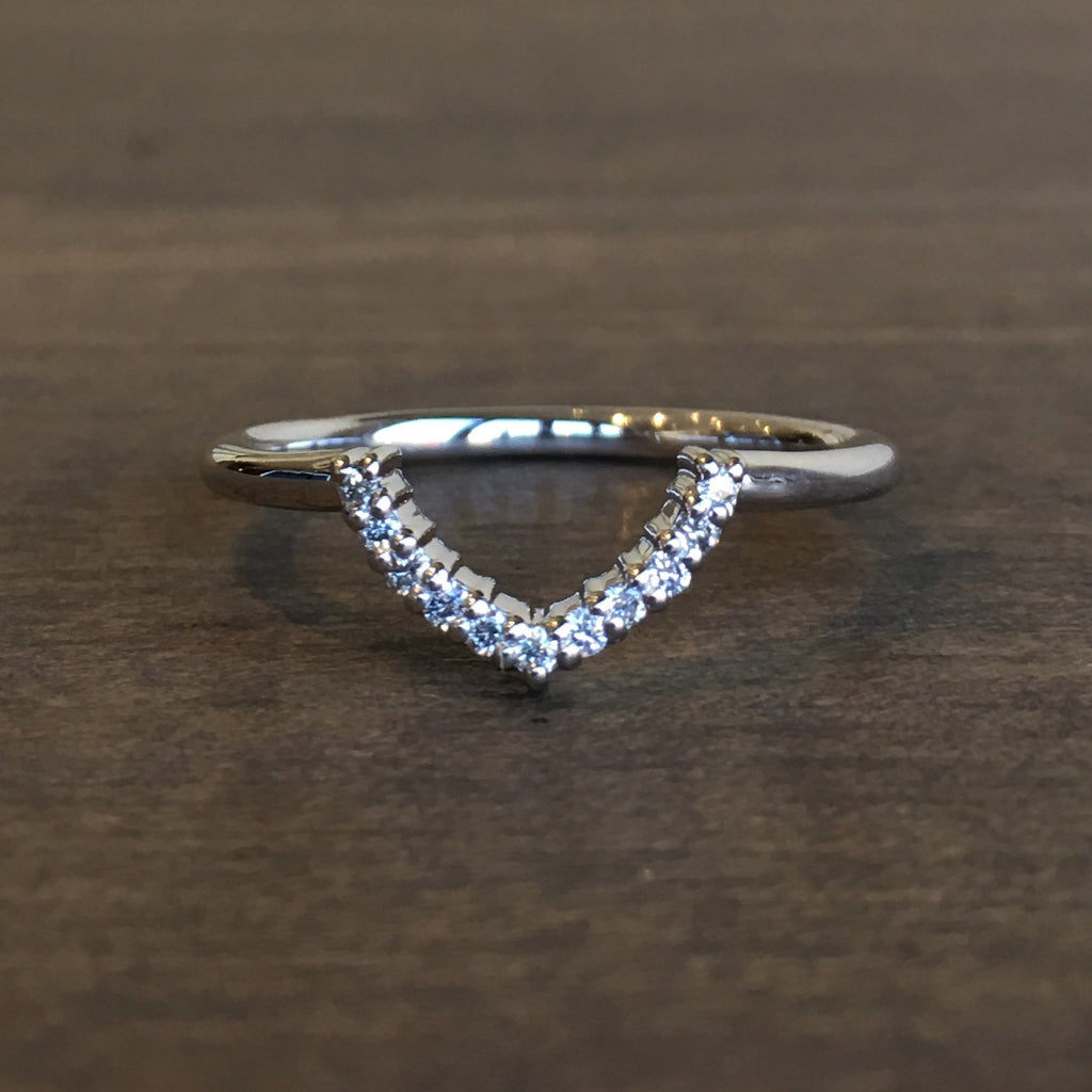Point No Point Delphine Diamond Chevron Wedding Band Meeka Fine