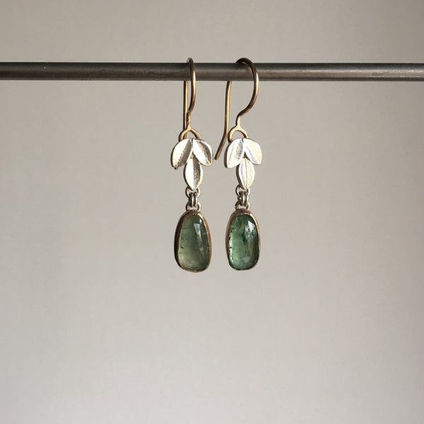 Katie Carder Emerald Leaf Drop Earrings