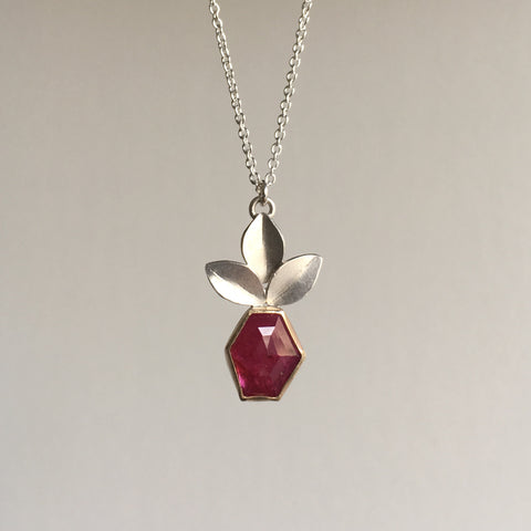 Katie Carder Hexagon Ruby Leaf Pendant