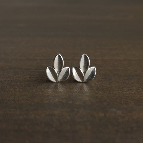 Katie Carder Silver Leaf Studs