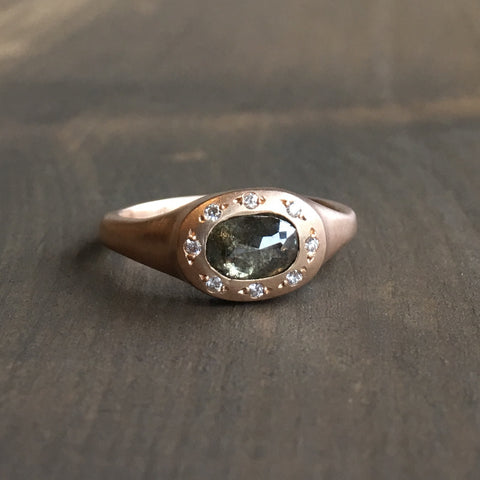 Sarah Swell Rose Gold Diamond Halo Ring
