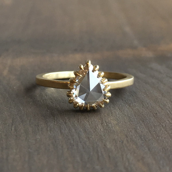 Sarah Swell Soleil Pear Rose Cut Diamond Engagement Ring