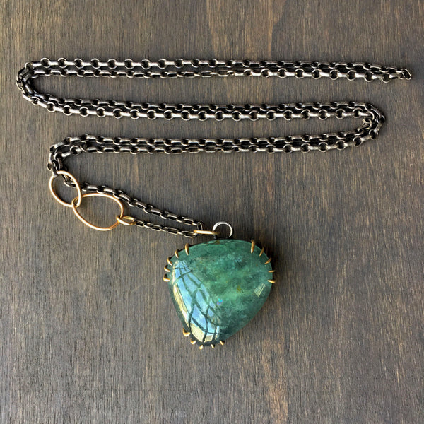 Hannah Blount Shattered Moss Aquamarine Vanity Necklace