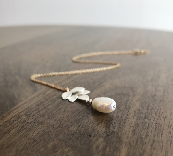 Katie Carder Fern Pendant with Pearl Necklace