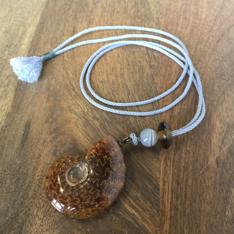 Gabriella Kiss Ammonite Pendant on Silk Cord