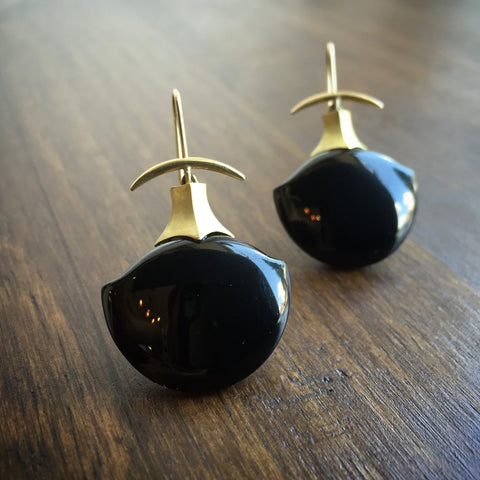 Gabriella Kiss Black Jade Earrings