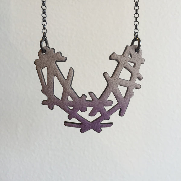 Joanna Nealey Stick and Stone Necklace in Iris Purple and Dove Grey