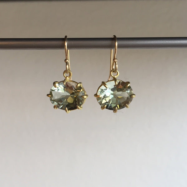 Rosanne Pugliese Green Amethyst Oval Earrings
