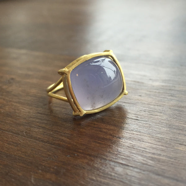 Rosanne Pugliese 18k Cage Set Chalcedony Ring