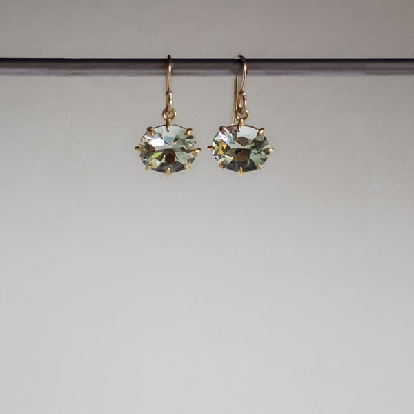 Rosanne Pugliese Small Faceted Oval Green Amethyst Earrings