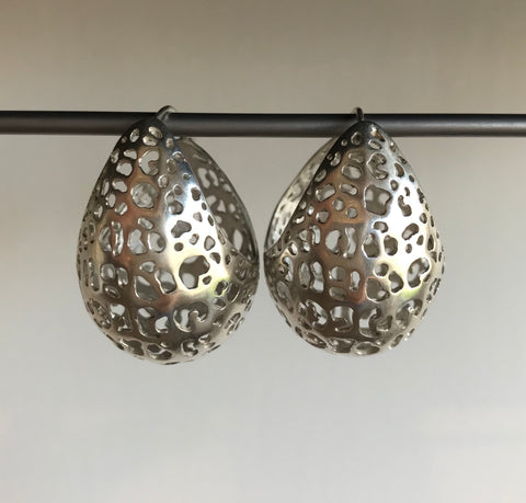 Rachel Atherley Large Leopard Basket hoop earrings Visiting Collections Project