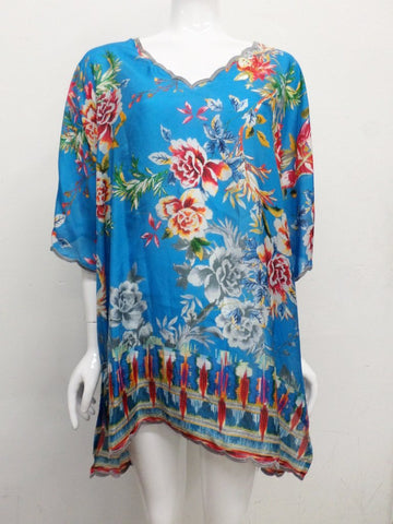 NWT Johnny Was Silk Betimo Cold Shoulder Tunic - 1X - SH14071018
