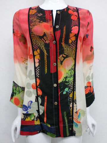 NWT Citron Santa Monica Silk Fukure Dragon and Bird Blouse - M - C49281116
