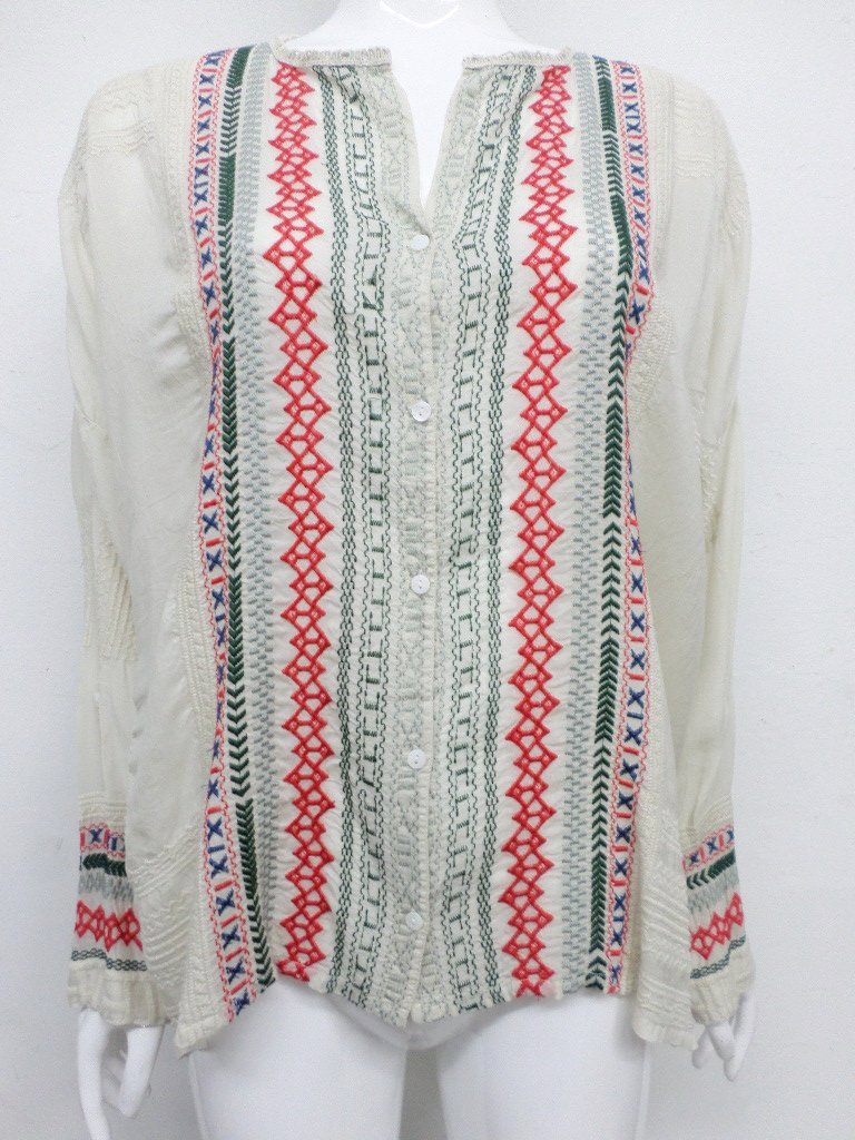 NWT Johnny Was Embroidered Melvin Button Down Top - 1X - SH10300518