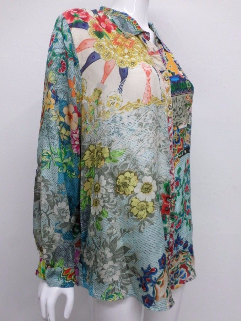 76689c493477be Johnny Was Printed Silk Button Down Blouse - PXXL - JW12570616