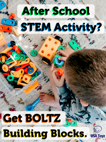 Kids can play after school and can still learn with BOLTZ building blocks. Let them have fun while keeping their creativity engaged. Remember, all work and no play makes a child dull.