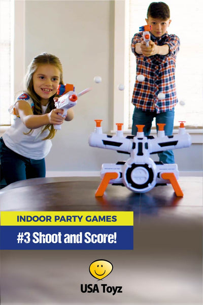 Kids indoor party games for teams or individuals. Check out Astroshot Zero G shooting target that comes with foam-dart blaster gun. Orbs float in mid-air and kids get to shoot them down. So much fun for a kids birthday party, sleepover game or indoor activity.
