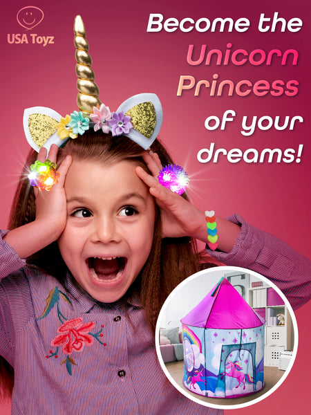 Get the gang together to experience a world of fantasy adventure with the USA Toyz Misty Mountain Unicorn Tent, glitter unicorn headbands, LED jelly rings and fun toys and games for everyone! Vibrant colors and an exclusive design will sweep kids away to the realm of unicorns!