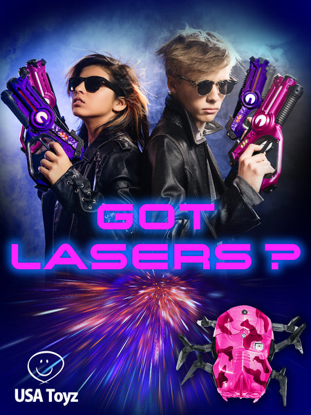 Laser your way into the future. Take play pretend space agent to the next level with these safe Laser tag 2 pack blasters. Share it with a friend and have a showdown target practice with the spider bots.
