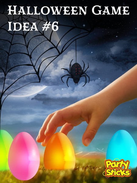 Haunted Halloween game ideas for kids party and adult Halloween parties; challenge trick-or-treaters to find a hidden glow egg in the yard