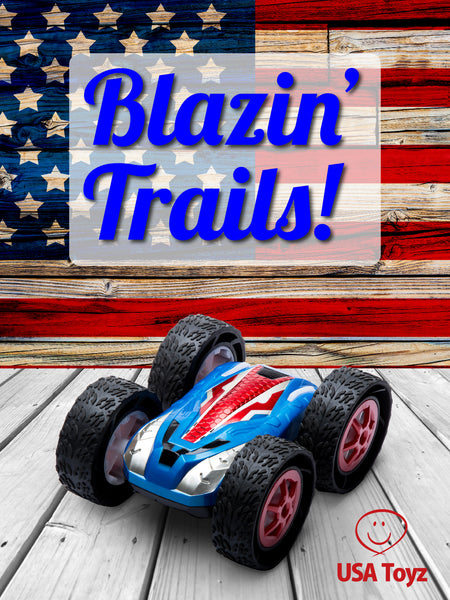 Patriotic red white and blue remote control car for boys and girls | fast double sided RC car for racing