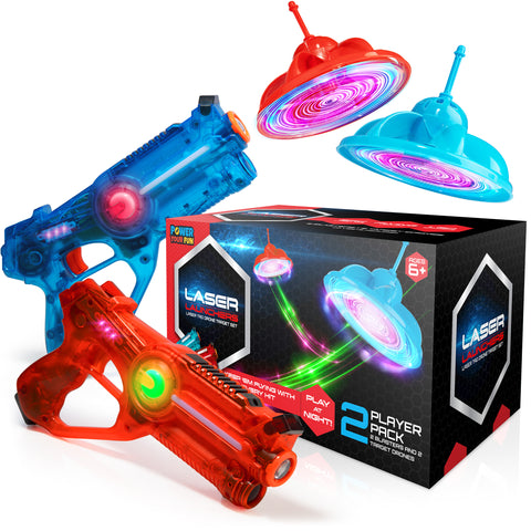 Summers are more fun with laser launchers, a laser tag target shooting game. Best played with family and friends, indoors and outdoors.