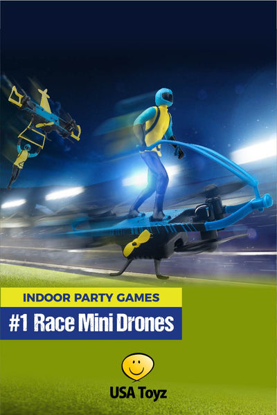 Kids indoor games for a kids party, sleepover or sibling fun. Race indoor mini drones. Create drone obstacle courses using glow sticks!