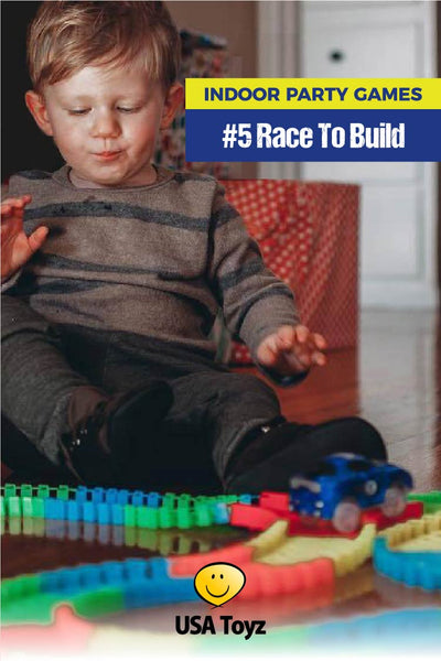 Mom Hack -fun indoor game idea - take race track set and split pieces evenly and let kids race to build their own custom track. Then see whose car goes fastest. Snap 'n Glow Race tracks from USA Toyz is a 360 piece set that comes with 2 LED cars. Everything you need for this indoor kids party game and toy set!