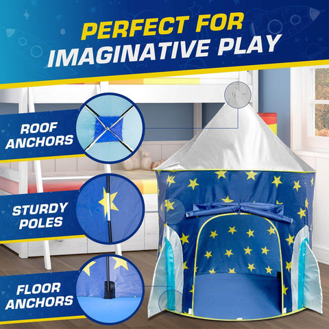 ROCKET SHIP PLAY TENT with Projector Toy and Storage Tote USA Toyz
