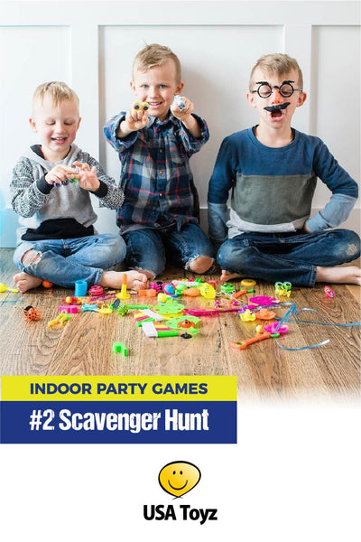 Best Mom TIP ever! Order small bulk toys from USA Toyz to use as kids party favors and scavenger hunt prizes. Also great filler for Saran Ball game! Keeps kids entertained for hours - even days.