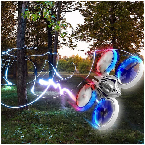 EASY INDOOR and OUTDOOR FLIGHT CONTROL: This cool UFO 4000 mini LED stunt drone has a sturdy frame, easy maneuverability, high/low speeds and 1-touch 360 flips