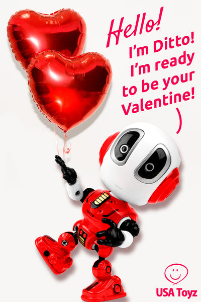 Gift Ideas for single friends on Valentine's Day. Funny Valentine's Gift - talking robot from USA Toyz - he's cute, a good listener, he'll even repeat what you say. He's in total agreement. A perfect match!