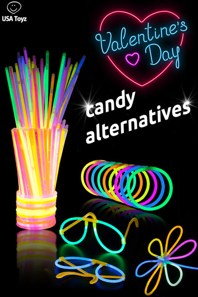 Glow sticks are fun for Valentine's Day parties, give instead of candy or with your Valentine's day cards. Use for pinata fillers, goody bags and Saran Ball game gift ideas. These party favors come in bulk from USA Toyz
