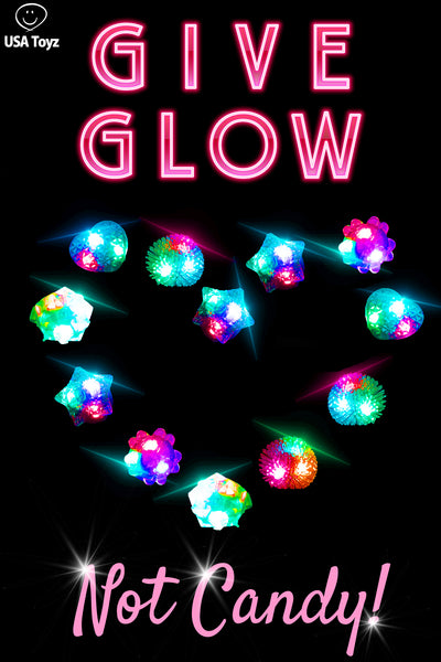 Give glow jelly rings to friends and classmates for Valentines Day toys. No worries of food allergies with these light up rings - they are the perfect candy alternative that kids love.
