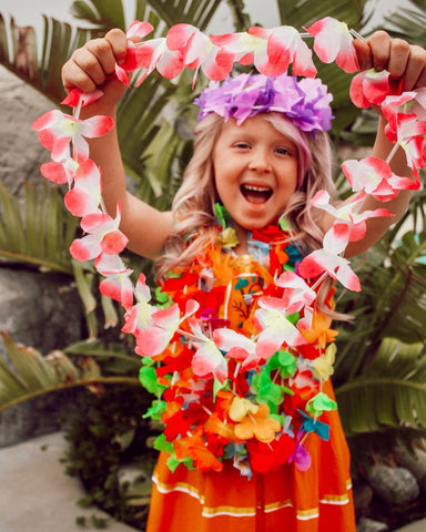 use hawaiian leis to decorate your tiki party