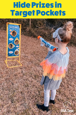 Fun Kids Activity Idea! Hide small prizes or candy and use Nerf blasters to shoot your prize. This target game from USA Toyz is perfect for shooting games with prizes or fun Easter Egg hunts.
