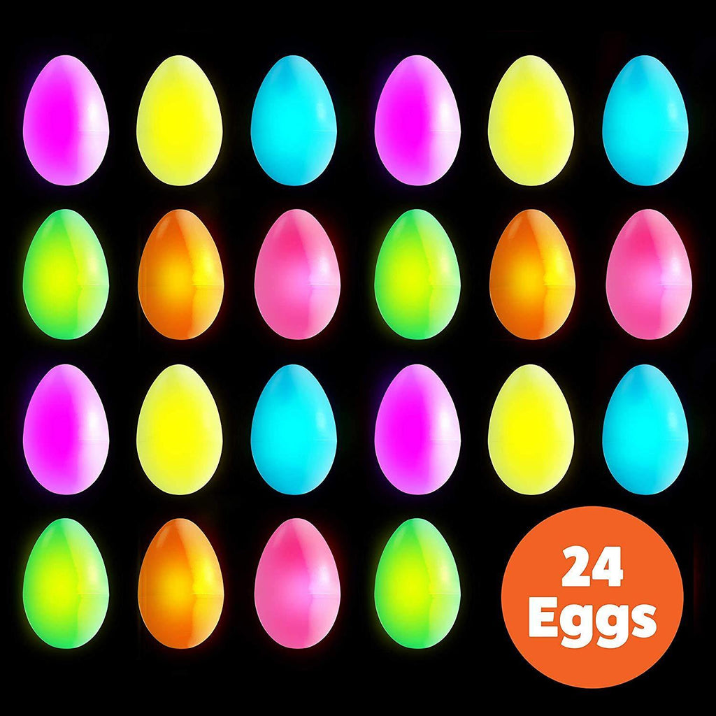 Hide your glowing plastic Easter eggs inside or outside for kids to find. Also perfect for Easter decorations