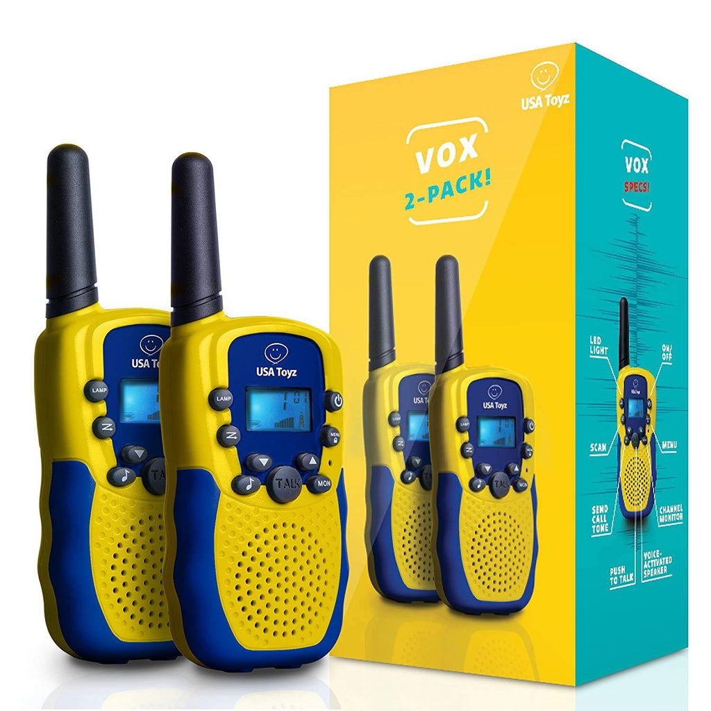 2 Vox Box Walkie Talkie with wide coverage range best for indoor and outdoor use. Comes with detachable belt clip, earbud jack and built-in LED light. It has multichannel too