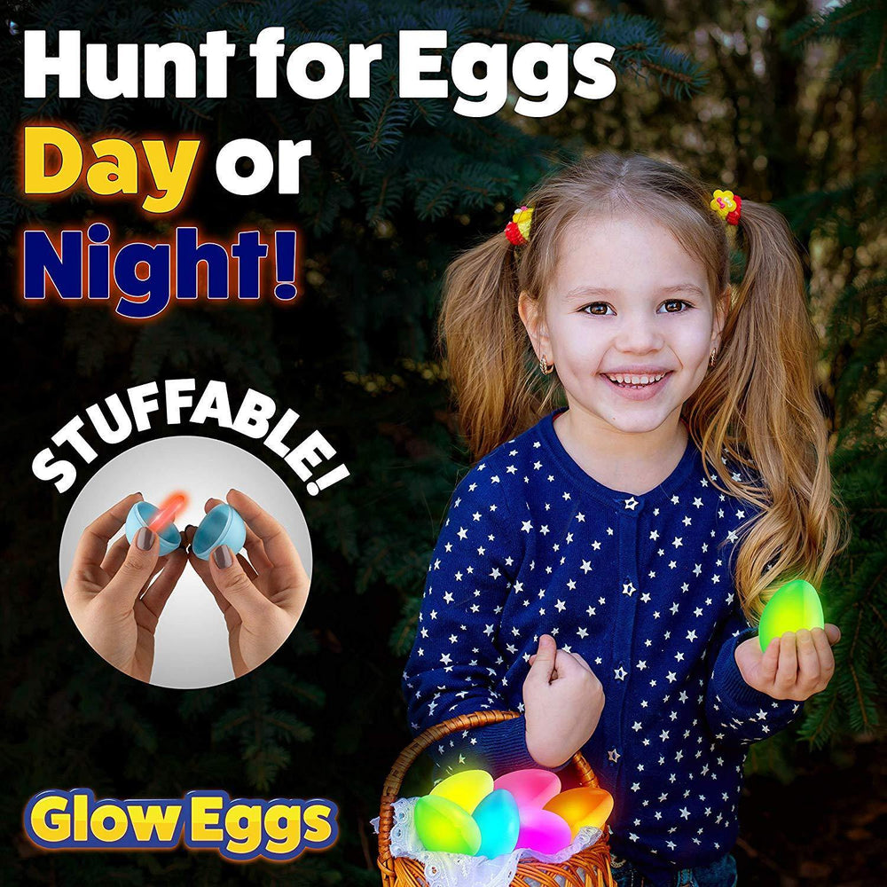 24pk Glow in the Dark Easter Eggs with 72 Mini Glow Sticks, Food Safe