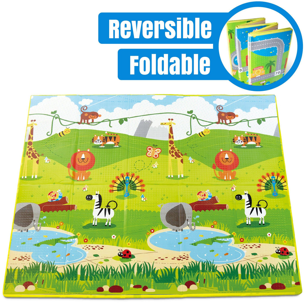 Comfortable foam play mats perfect as indoor or outdoor mats for playing and crawling. Folding play mats contain no BPA makes it safe for babies 3 months and up to crawl on.