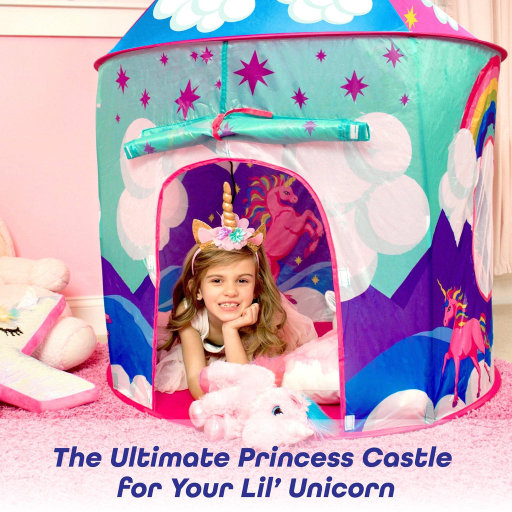 Glitzy Glamping Kit - Unicorn Play Tent, Unicorn Headbands, Jelly Rings and Princess Party Favors